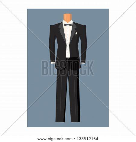 Wedding tuxedo icon in cartoon style on a white background