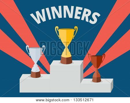 Winner pedestal with golden silver and bronze vector cups design