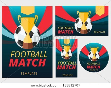 Set of vector football match flyer poster badge and banner background with ball and golden cup on striped layout design