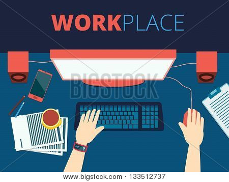Workplace vector concept background design with a man hands printing on a keyboard in front of a monitor flat front lay desktop