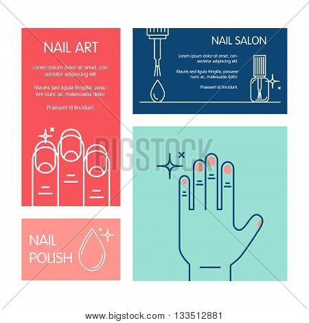 Set of business cards vector template on the theme of beauty and health of nails. Emblems for nail cosmetics, manicure salons, medical nails cosmetology.