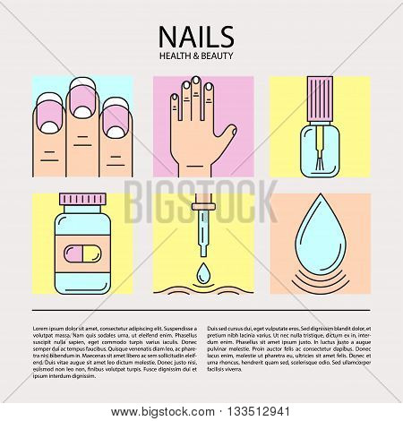 Set of color line icons on the theme of beauty and health of nails. Emblems for nail cosmetics, pharmaceuticals, manicure salons, medical nails cosmetology.