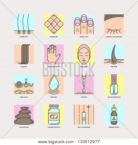 Set of color line icons on the theme of beauty and health of hair, skin and nails. Emblems for cosmetics, pharmaceuticals, manicure salons, medical cosmetology.