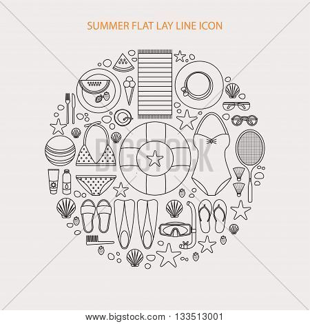 Summertime flat lay line infographics. Summer vacation on the beach, travel. It can be used in advertising, web design, graphic design for the layout. Made in trendy round composition.