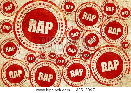 rap music, red stamp on a grunge paper texture