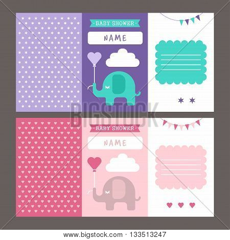 Baby shower three fold invitation template for baby boy and baby girl. Elephant pink violet blue polka stars and hearts. Colored flat vector illustartion.