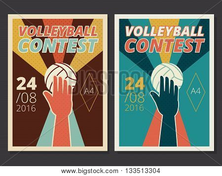 Set of volleyball game vector poster and flyer design in A4 size in retro style with hand and ball contest or tournament background