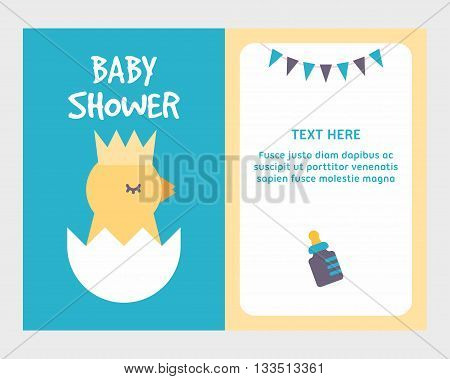 Baby shower invitation card template with cute little chicken breaking eggshell. It's a boy. Blue two sides. Colored flat vector illustartion.