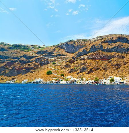 From One  Boat In Europe Greece Santorini Island House And Rocks The Sky