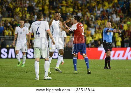 Gustavo Gomez Pushing Yerry Mina During Copa America Centenario