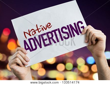 Native Advertising placard with night lights on background