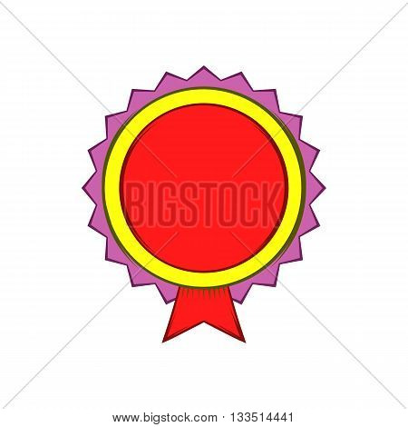 Award rosette icon in cartoon style on a white background