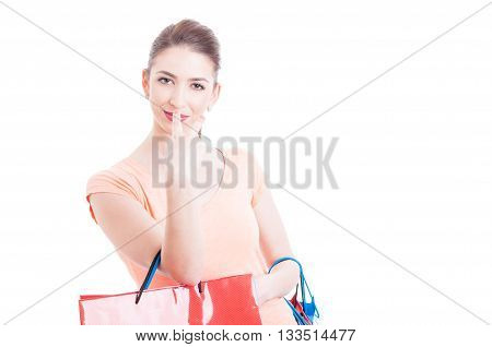 Woman Holding Shopping Bags Making Look Into My Eyes Gesture