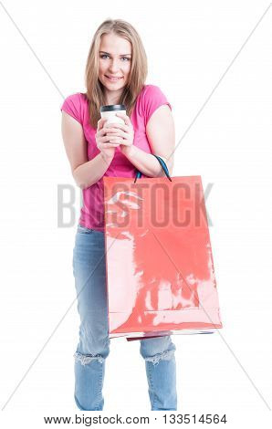 Cheerful Young Female Relaxing With A Coffee On Shopping