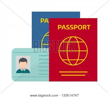 Vector illustration passport with tickets.