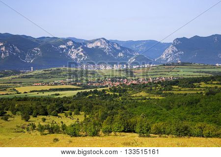 Panoramic view to the town of Vratsa and Balkan Mountains in the background (Vratsa Balkan Mountains) Bulgaria