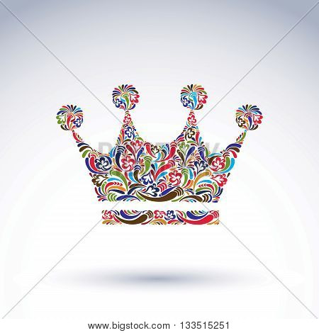Colorful flower-patterned crown coronation vector design element.