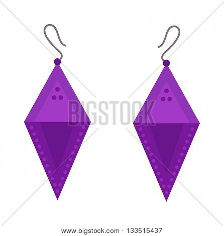 Earrings beautiful accessory isolated.