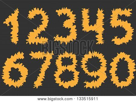 Orange cutting Numbers. Thorny numbers, Vector illustration