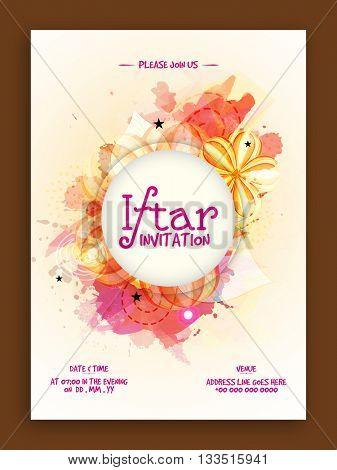 Colourful stylish Ramadan Kareem, Iftar Party Invitation Card with floral design.
