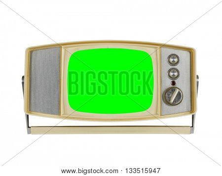 Vintage portable television on white with chroma green screen.