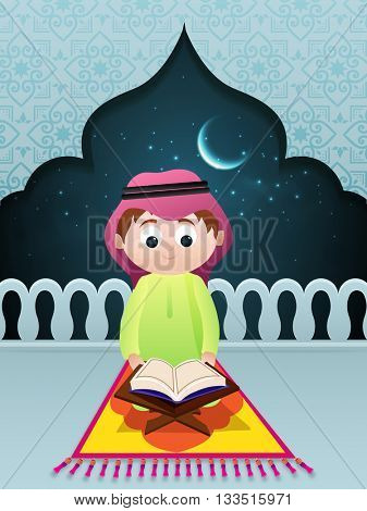 Cute Little Islamic Boy reading Holy Book