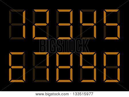 Orange Digital Numbers. Led lumbers for timer or alarm
