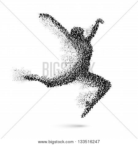 Dancing Woman in the Form of Black Particles on White