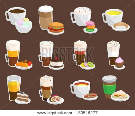Coffee snack vector illustration.