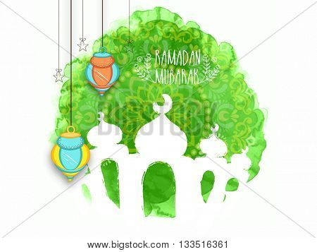 Colourful Arabic Lanterns with Mosque on floral, Green splash background for Holy Month of Prayer, Ramadan Kareem Celebration.