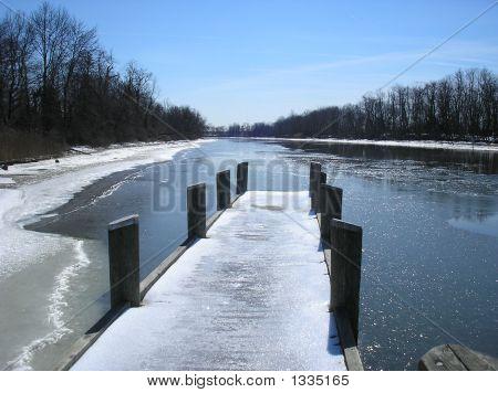 Frozen Pier River