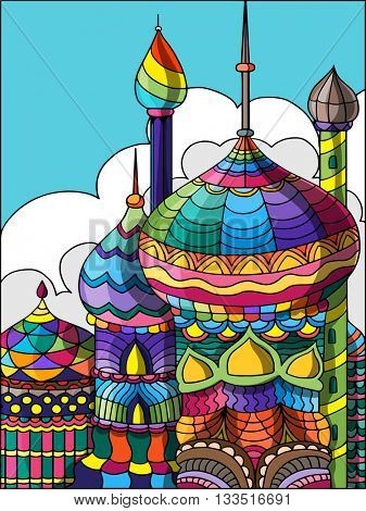 Creative colourful Mosque on cloudy background for Islamic Festivals Celebration.
