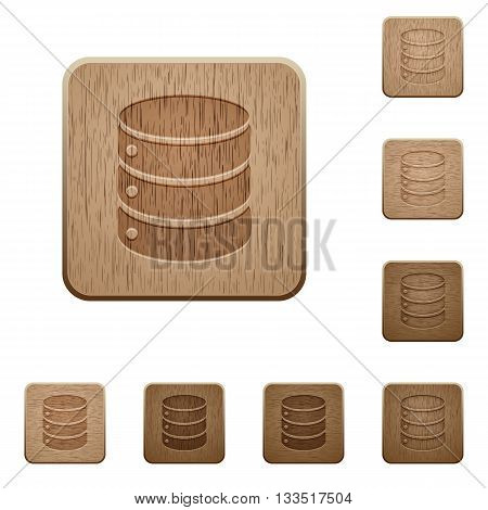Set of carved wooden database buttons in 8 variations.