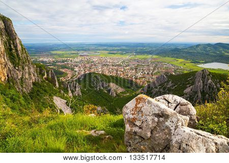 Aerial view to the town of Vratsa Bulgaria. View from Balkan Mountains (Stara planina).