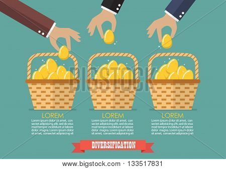 Allocating eggs into more than one basket infographic. Business diversification concept