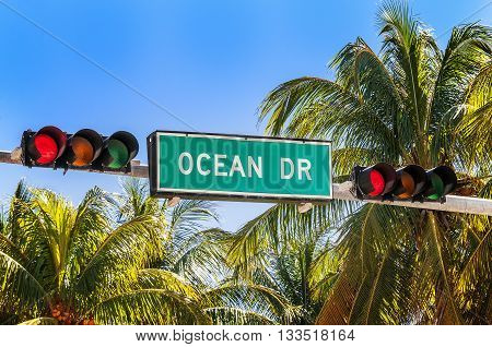 street sign of famous street Ocean Drive
