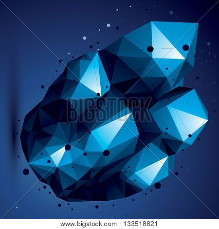 Asymmetric 3D Blue Abstract Object With Connected Lines And Dots, Geometric Form With Lattice Struct