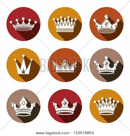 Stylized royal 3d design elements set of king crowns. Majestic vector symbols isolated on white.