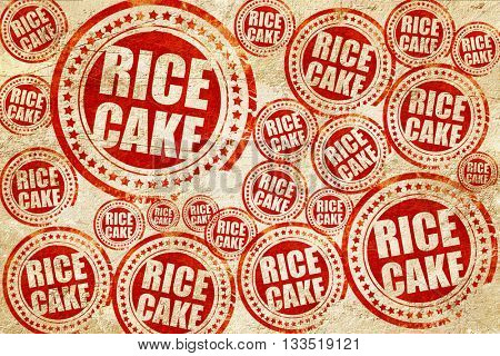 rice cake, red stamp on a grunge paper texture