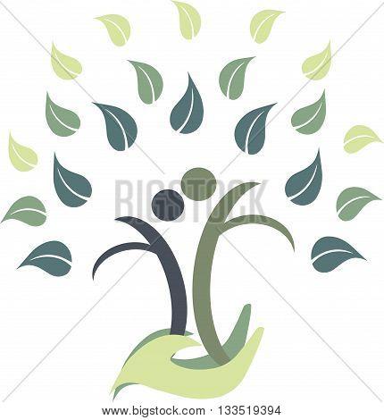Family tree logo on white, vector illustration