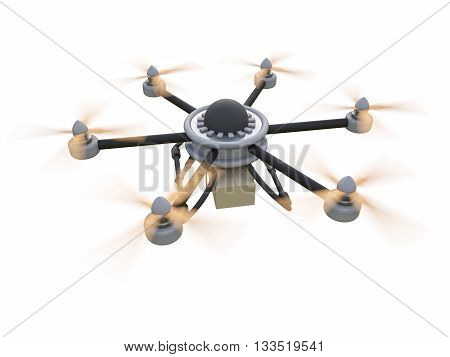 Gray hexacopter. Shipping to home. Flying courier. 3d illustration