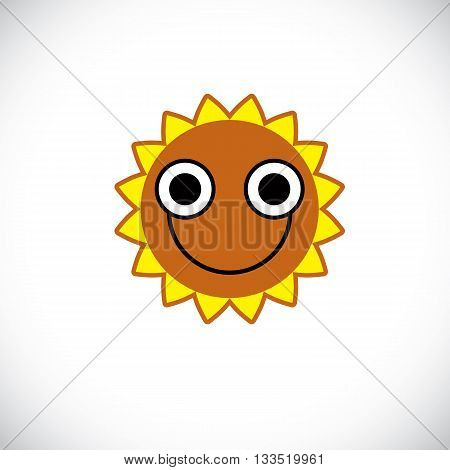 Yellow sun art illustration made with a smiling face. Vector meteorology sign weather forecasting symbol isolated on white.