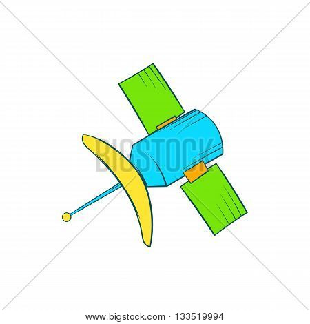 Satellite communication icon in cartoon style on a white background