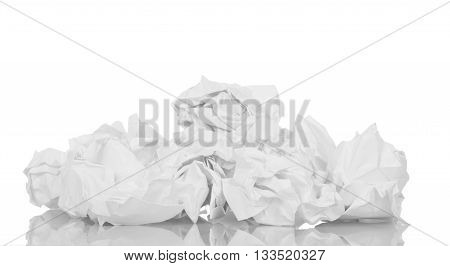 Crumpled paper closeup isolated on white background.