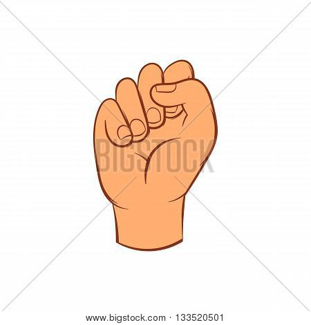 Hand with clenched fist icon in cartoon style on a white background