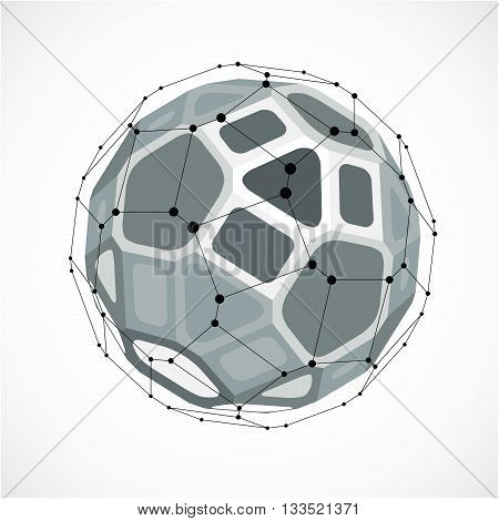 Abstract vector low poly object with black lines and dots connected. Monochrome 3d futuristic ball with overlapping lines mesh and geometric figures.