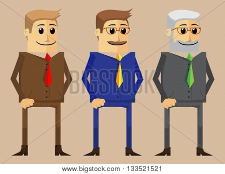 Cartoon businessman character in three different age