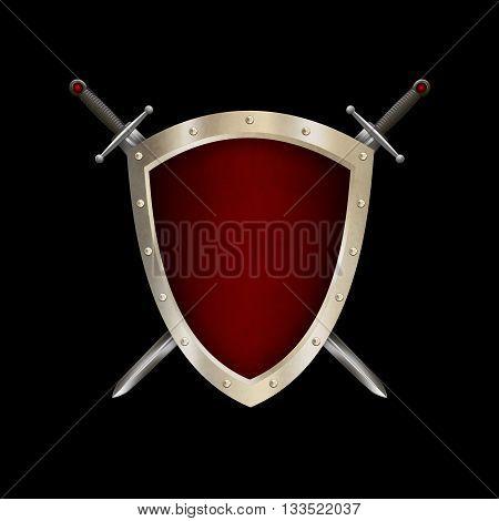 Medieval riveted shield with swords on black background. 3D illustration.