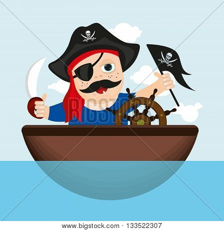 Merry sailor, pirate with a saber on a boat sailing on the ocean, vector illustration