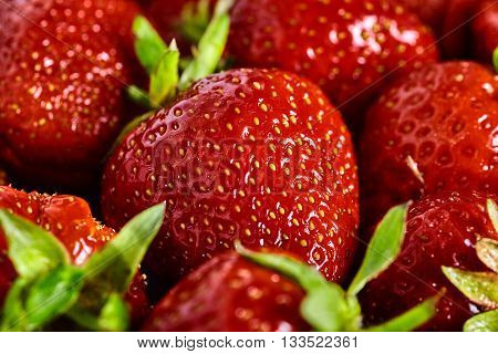 Close up of many fresh and juice strawberries